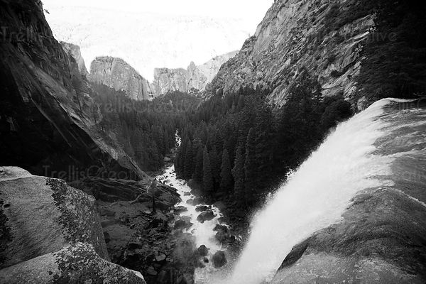 The view from atop of Vernal Falls along Half Dome Hike, Yosemite National Park, California