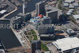 Manchester  aerial photograph of the BBC Studios Media City Granada Studios Metro Station Salford Quays