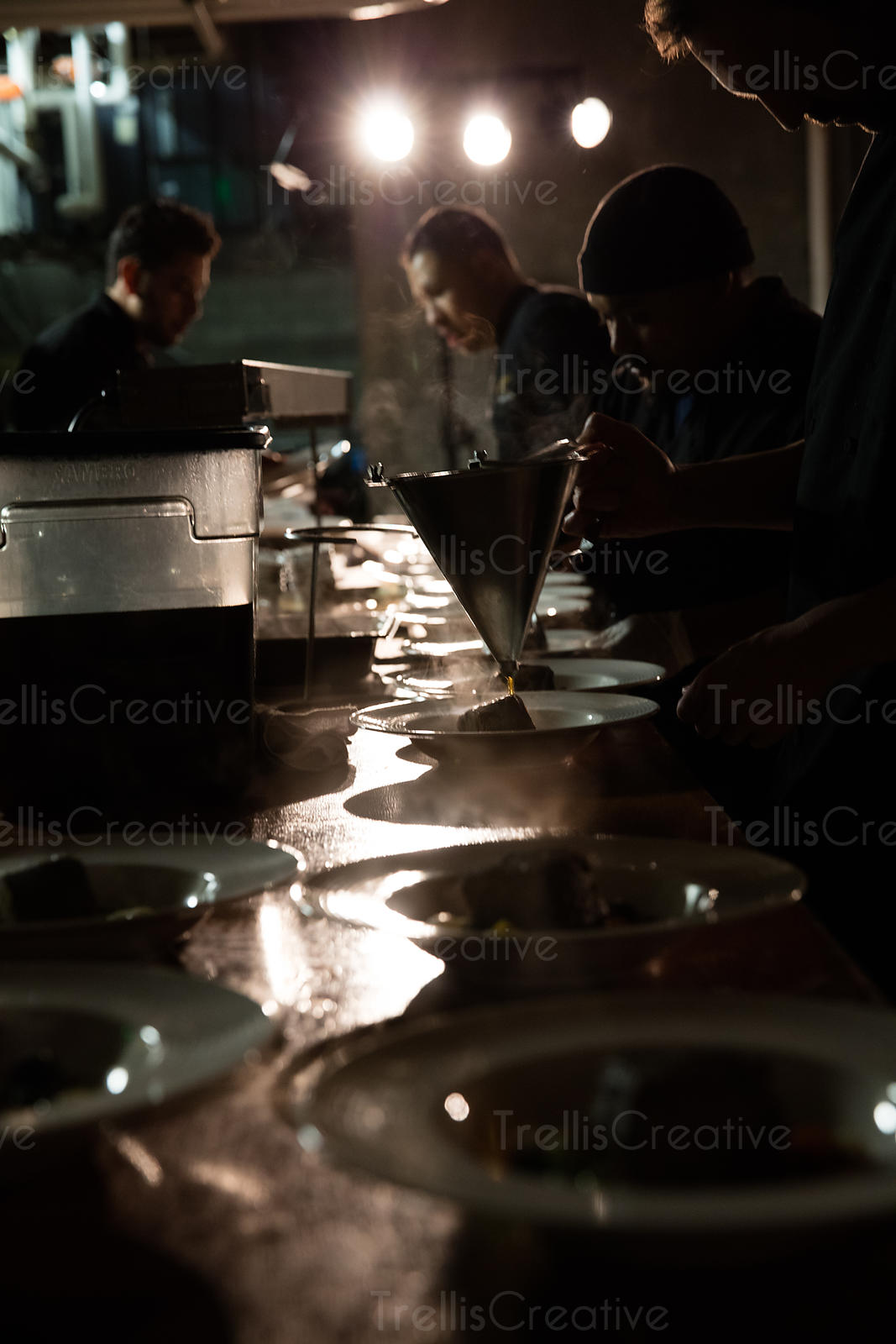 Chef preparing food at an event