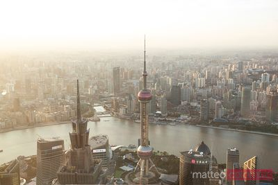 The city of Shanghai at sunset from the tallest skyscraper, China