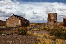 Water tower in disused railway station in General Pando, La Paz Department, Bolivia