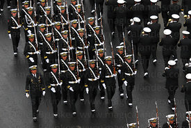 Members of Bolivian Navy marching before start of events for Dia del Mar / Day of the Sea , La Paz , Bolivia