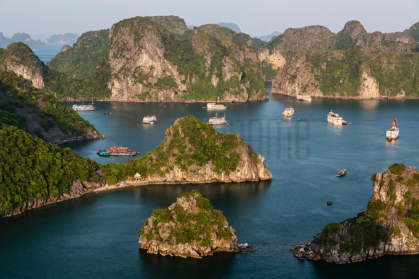 Elevated View of Tourist Boats in Halong Bay