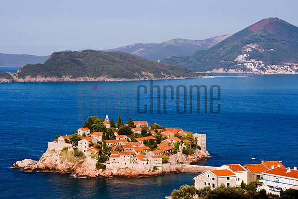The Island (Hotel) Sveti Stefan, (Budva in Background), Adriatic Coast, Montenegro