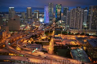 Miami and highways at night