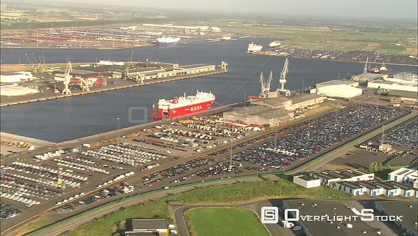 Flying over docks at the port of Zeebrugge, Belgium