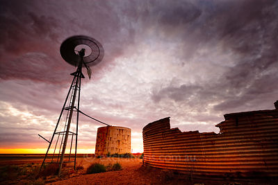 Windmill and tank, Hay, NSW, Australia.