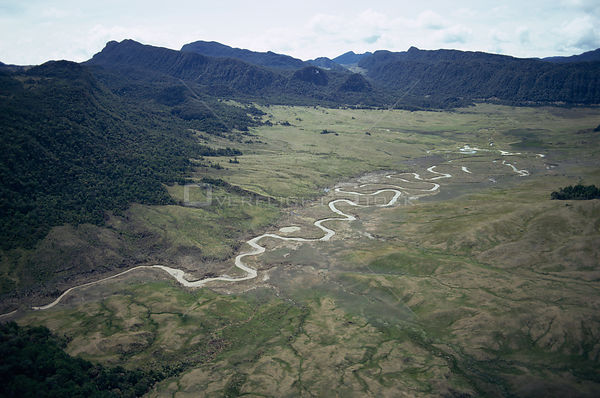 Aerial view of meandering river at 8,000m Central Highlands, Papua New Guinea