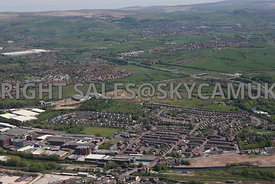 Rochdale high level aerial photograph of