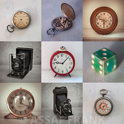 Collage of old clocks, cameras, dice and pocket watches