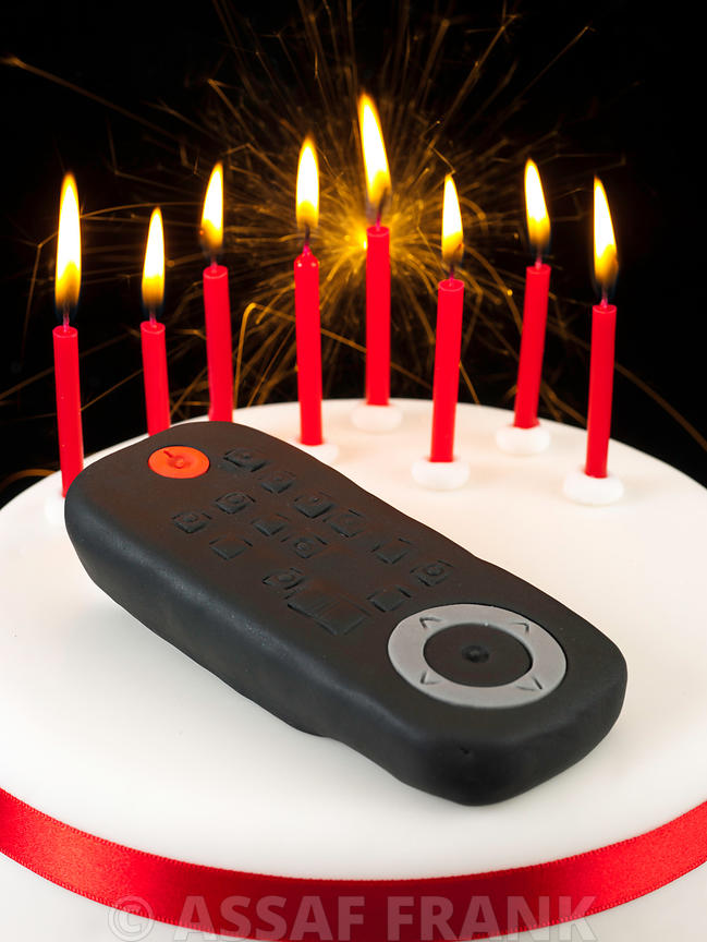 Birthday cake with remote control on top