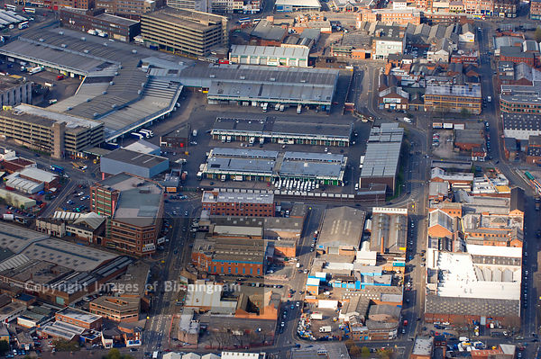 An aerial view of Birmingham City Centre  including Digbeth and trade markets