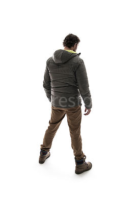 A man in outdoor clothing from behind – shot from eye level.