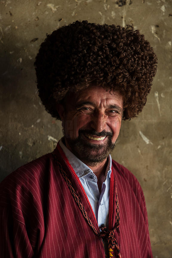 Portrait of Ashyr Agha owner of a horse-breeding Farm devoted to the Akhalteke arguably the oldest cultured breed of horse in...