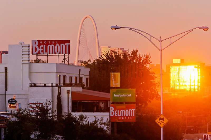 The Belmont Hotel with the Margaret Hunt Bridge in the Background at Sunset