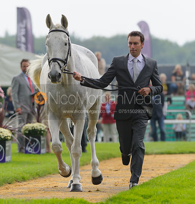 Neil Spratt and UPLEADON - The first vets inspection (trot up),  Land Rover Burghley Horse Trials, 3rd September 2014.
