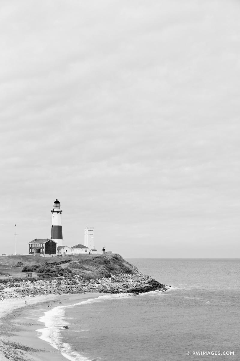 MONTAUK POINT LIGHTHOUSE LONG ISLAND NEW YORK BLACK AND WHITE VERTICAL