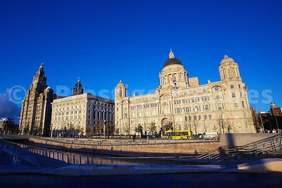 The Three Graces in Liverpool  on a Sunny Day - The Royal Liver Building, The Cunard Building and the Port of Liverpool Build...