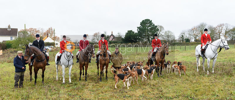 Visiting huntsmen at the meet. The Holderness Hunt visit The Essex and Suffolk