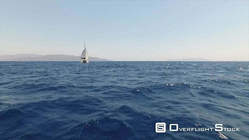 Catamaran Sailboat on a Blue Ocean