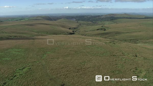 Aerial view of Dartmoor, looking towards Burrator Reservoir, Dartmoor National Park, Devon, England, UK, October 2015.