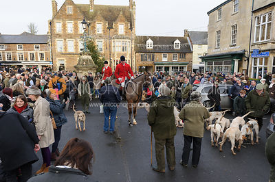 The Cottesmore Hunt gather in Uppingham Market Square