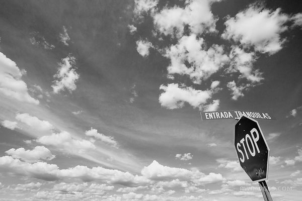 STOP ENTRADA TRANQUILLAS SIGN TURQUOISE TRAIL NEW MEXICO BLACK AND WHITE