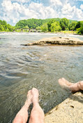 Visitors Cool Off At Youghiogheny River- Ohiopyle, PA (V)