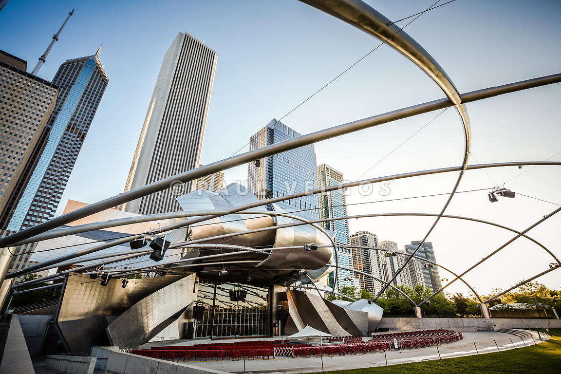 Jay Pritzker Pavilion and Downtown Chicago Skyline