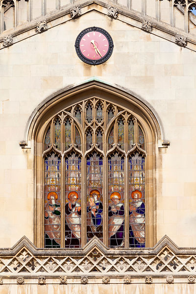 Stained glass in the windows of the chapel of Corpus Christi College (founded in 1352 by the Guilds of Corpus Christi and the...