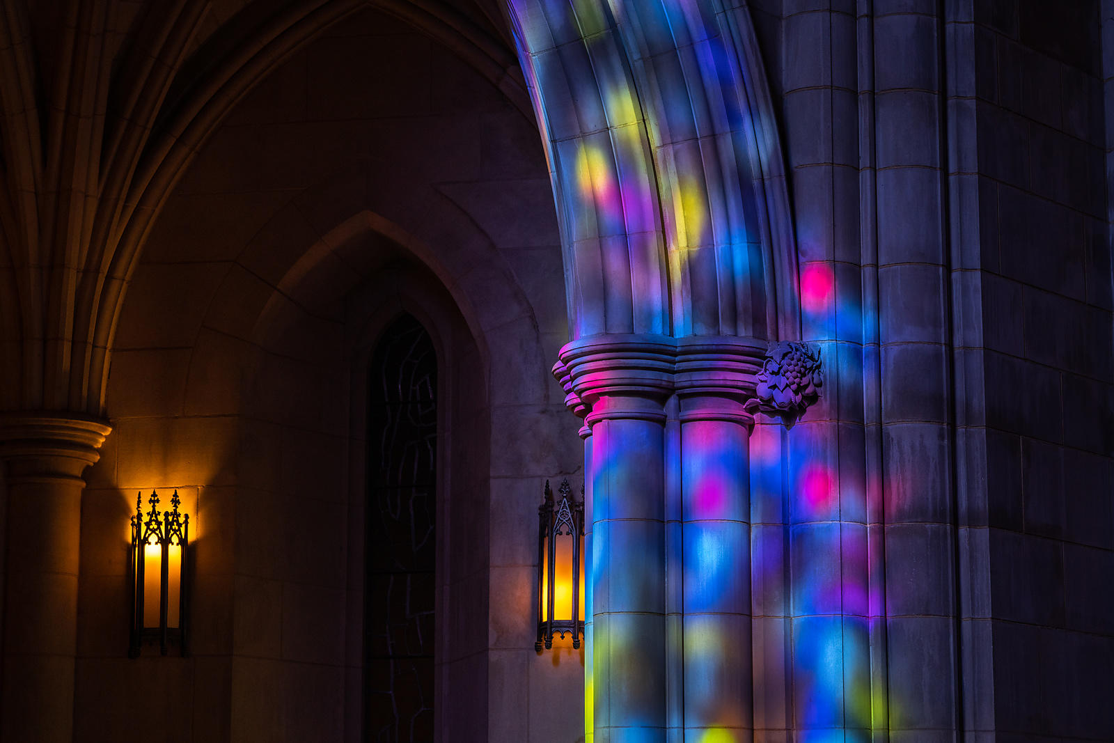 Stained Glass Projections in the Apse