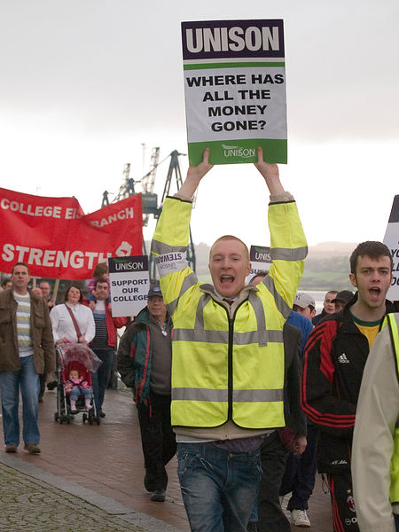 James Watt College lecturers march.