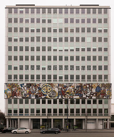 "BERLIN - FEBRUARY 16: The ""Haus des Lehrers"" (German for House of the teacher) with a mural from Walter Womacka in Berlin Mit..."