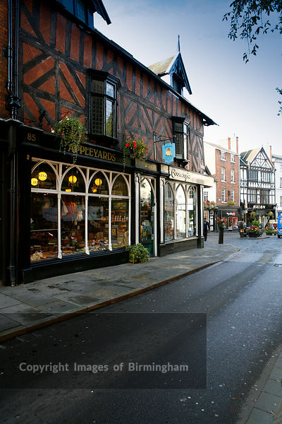 A black and white tudor shop in Shrewsbury, Shropshire.