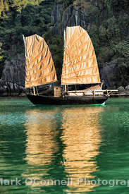 Vietnamese sailing boat in Halong Bay