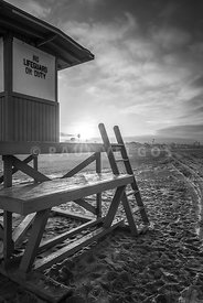 Lifeguard Tower B Newport Beach Black and White Picture