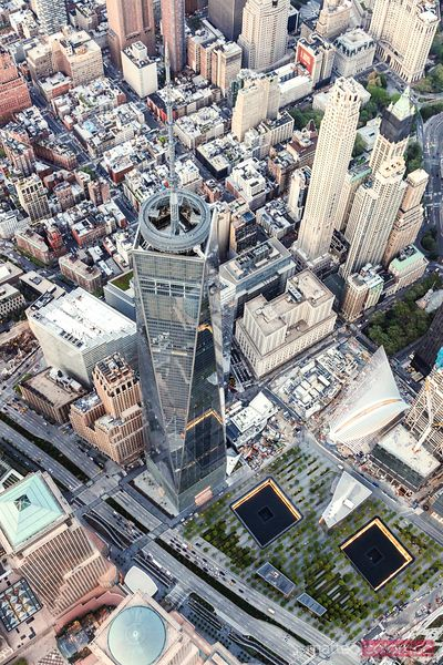 Aerial of One World Trade Center and 9/11 memorial, New York, USA