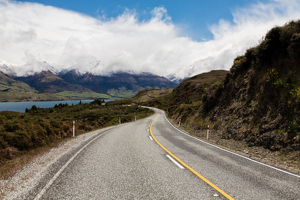 Road Heading to Lake Wanaka from the Neck, Elevation 405m