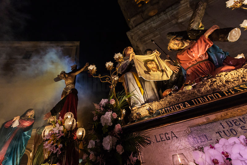 Floats Depicting the Passion of Christ at the Holy Wednesday Parade