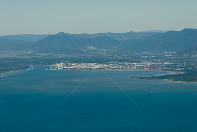 Aerial view of Cairns from the Pacific Ocean, Queensland, Australia