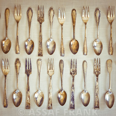 Old fashioned silver teaspoons and forks