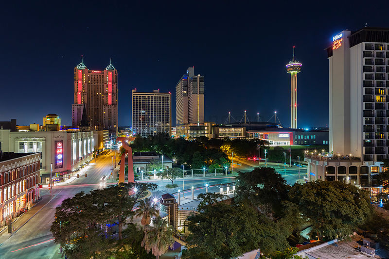 Elevated View of the San Antonio Skyline at Dawn—The Tower of the Americas observation tower is seen on the right