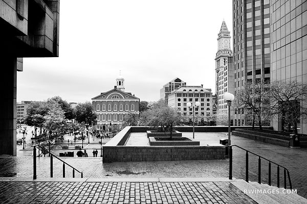 FANEUIL HALL BOSTON DOWNTOWN BLACK AND WHITE