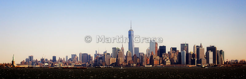 One World Trade Center (2014) dominating the Manhattan Skyline as seen from the south, from Staten Island Ferry, New York, USA