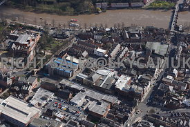 Chester aerial view of Pepper Street looking towards the river Dee