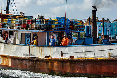 Workers on boat in Curacao, Caribbean