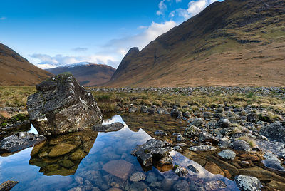Rock pool, Glen Etive, late afternoon autumn light