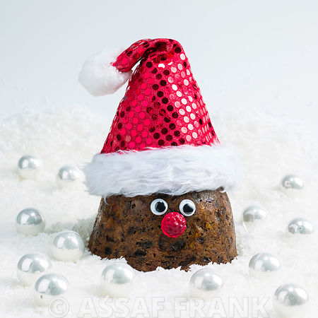 Christmas pudding with santa hat