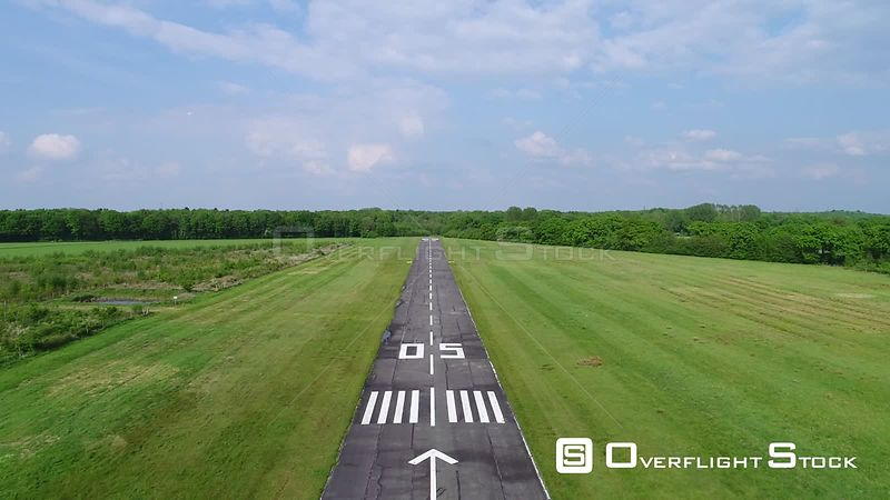 Airfield runway in Ahrenlohe in the state of Schleswig-Holstein, Germany