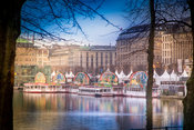 View across the Kleine Alster to the White Magic Christmas Market